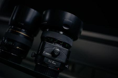 two black DSLR camera lens