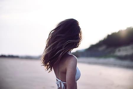 woman wearing white bikini top