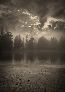 grayscale photo of lake