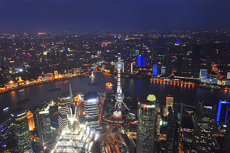 Night shot of the city of Shanghai in China