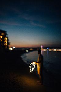 Fairy lights at the beach in Bulgaria