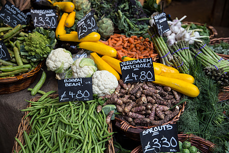 Fresh vegetables on a stall at Borough Market in Central London. Image captured with a Canon 6D DSLR.