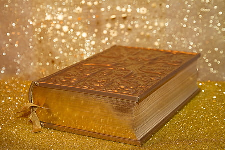 Bible on gold surface