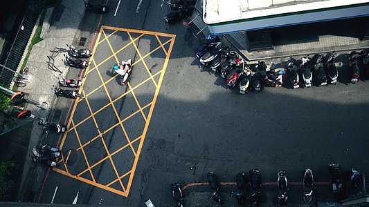 aerial photography of assorted motorcycles