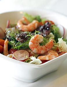 cooked shrimp and salads