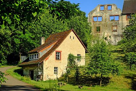 beige house beside green trees