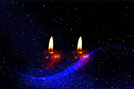 two red tealight candles