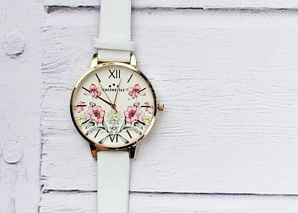round white floral analog watch with white leather strap
