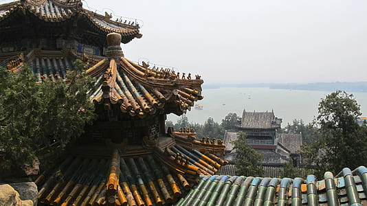 photography of temple roof and body of water during daytime