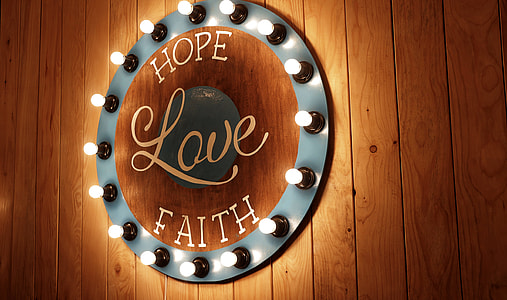 Hope Love Faith Sign Wood Light