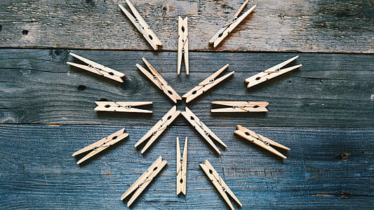 Brown Wooden Clothes Clips