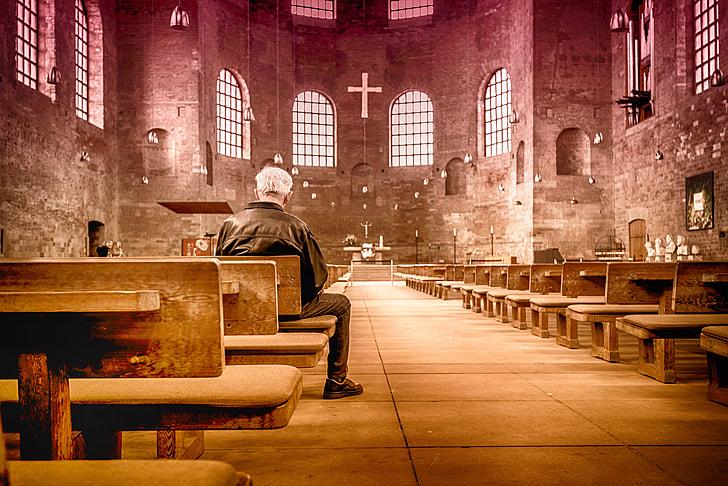 man inside church