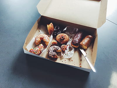 baked donut on box