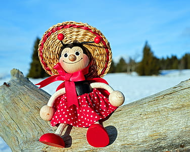black and red doll on brown driftwood