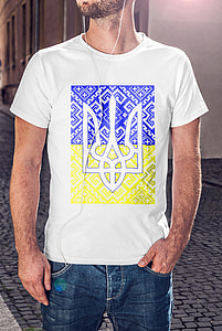 man wearing white and blue crew-neck t-shirt