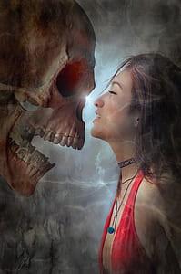 woman wearing red tops facing skull digital wallpaper