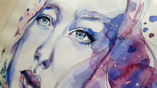 woman blue and purple watercolor portrait painting