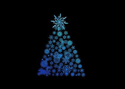 teal and blue snowflake christmas tree illustration