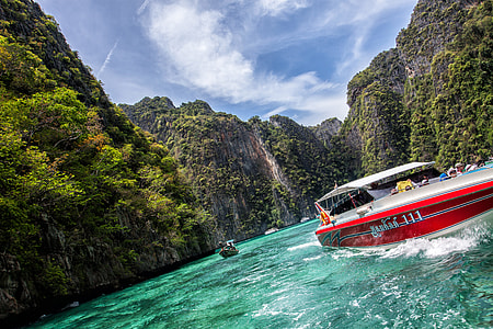 Wide-angle image captured from a boat in the Phi Phi Islands, Krabi, Thailand