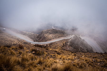 fogging winding road