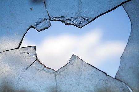 close shot of braked glass