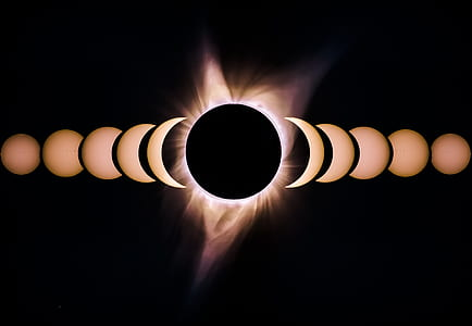 eclipse, sun and moon, solar eclipse, total eclipse, timelapse solar eclipse, time lapse sky