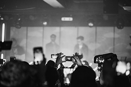 grayscale concert photo