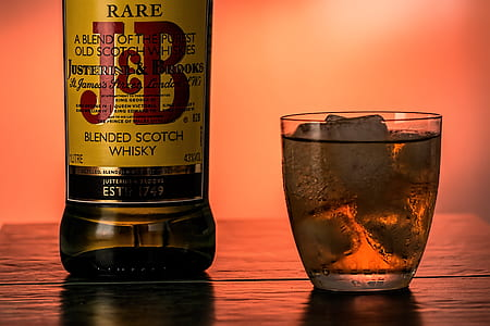 J&B blended scotch whiskey bottle and shot glass