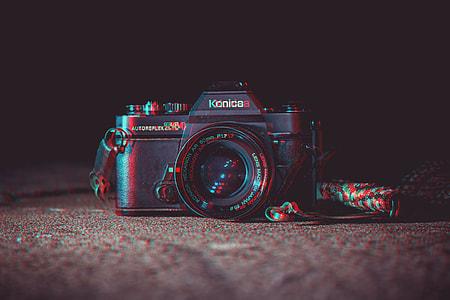 pop-art effect black Konica DSLR camera