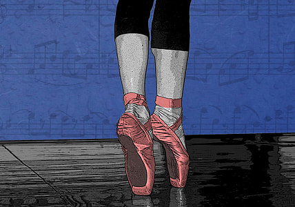 standing ballerina with red shoes illustration