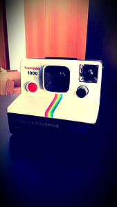 White and Black Polaroid  Camera