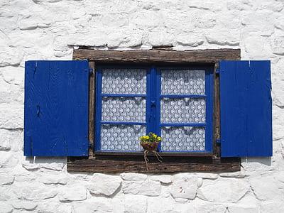 closed blue windowpane