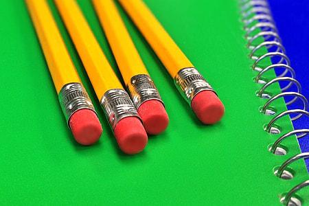 School pencils on desk