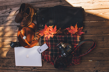 Camera gear, computer and clothes