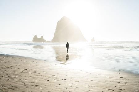 silhouette of man walking on shore