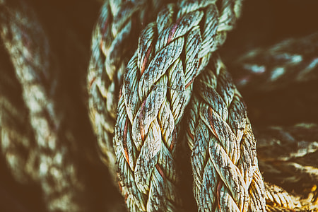 Close-up texture shot of an old rope