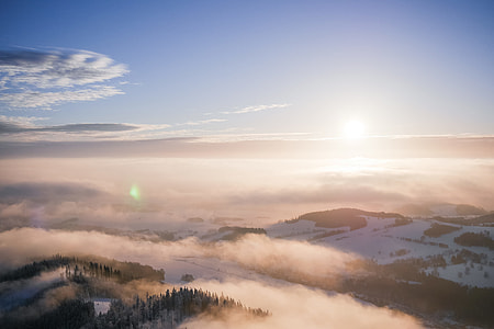 Beautiful Sunset Over The Foggy Mountains Scenery