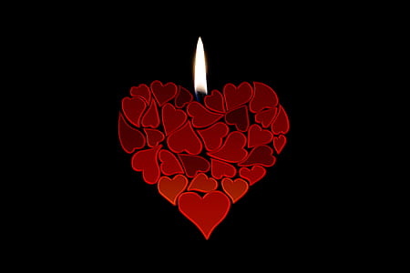 red heart candle illustration with black background
