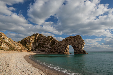 Landscape shot of the famous Durdle Door rock formation, image captured on the Jurassic Coast, Dorset, England