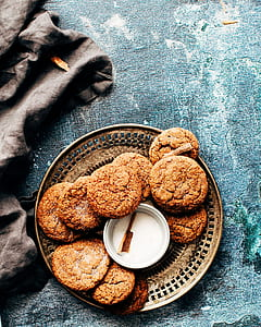 cookies on round brown plate