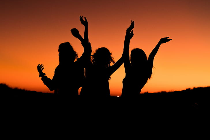 silhouette of women during sunset