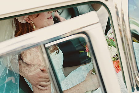 women's white floral wedding dress