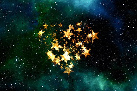 heart-shaped star digital wallpaper