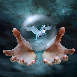 white Pegasus inside clear crystal ball