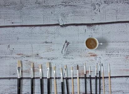 macro shot photography of paint brushes