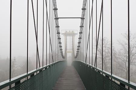 gray bridge with fog photo