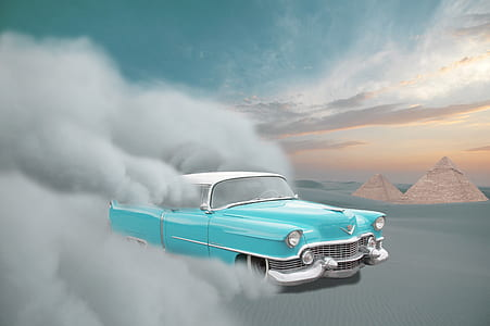 vintage teal and white pickup truck at daytime