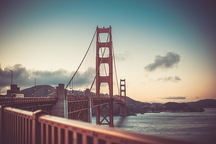 Golden Gate Bridge in San Francisco at Sunset Vintage Colors