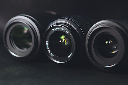 Closeup shot of camera lenses