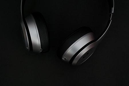 Music headphones of black background